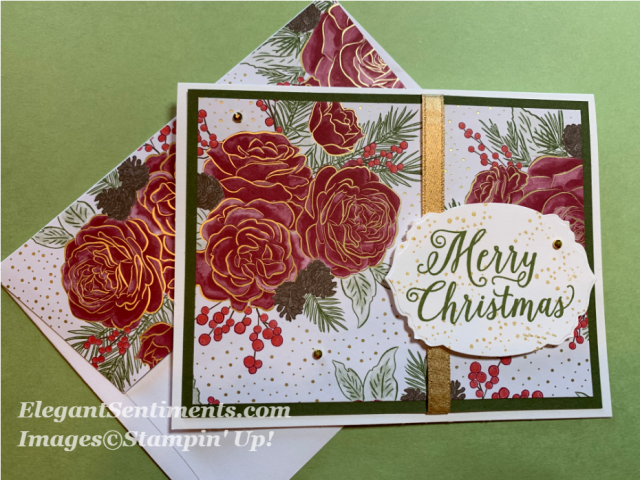 Christmas card with Christmastime is Here paper by Stampin Up