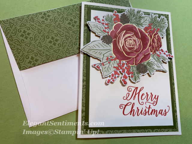 Christmas card with large rose featuring Stampin Up products