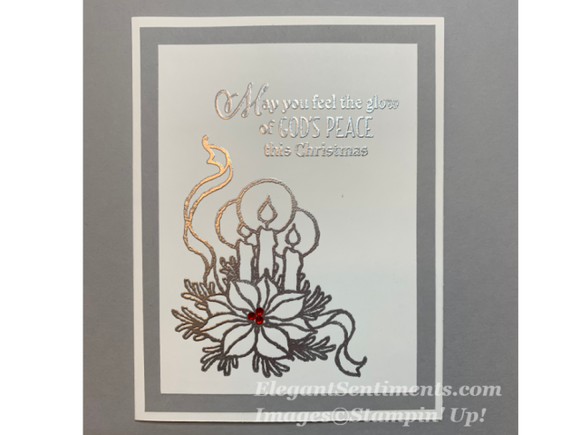 Christmas card with silver candle and sentiment using Stampin Up products