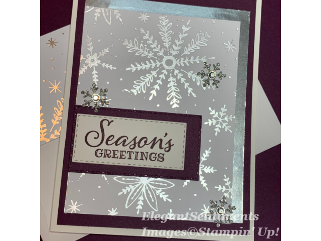 Christmas card silver snowflakes and blackberry featuring Stampin Up
