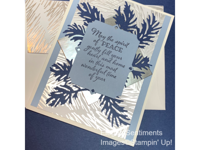Christmas card silver and seaspray blue featuring Stampin Up