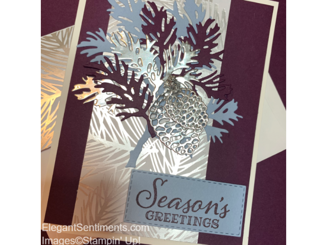 Christmas card silver and blackberry featuring Stampin Up products