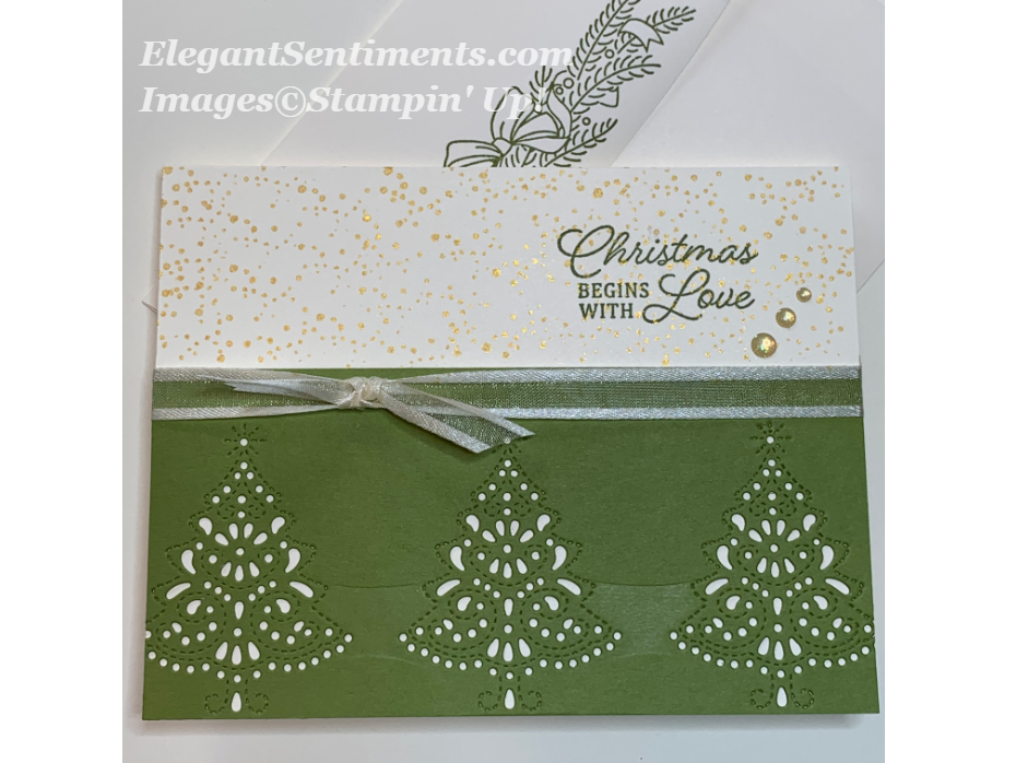 Die cut trees on Christmas Card Stampin Up