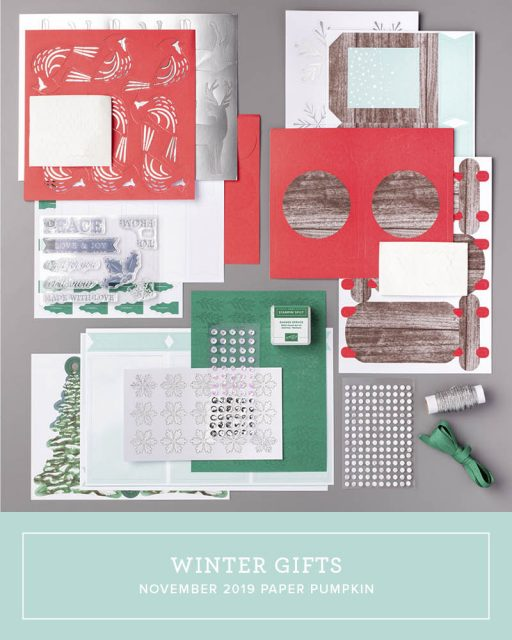 November Paper Pumpkin Kit contents from Stampin Up