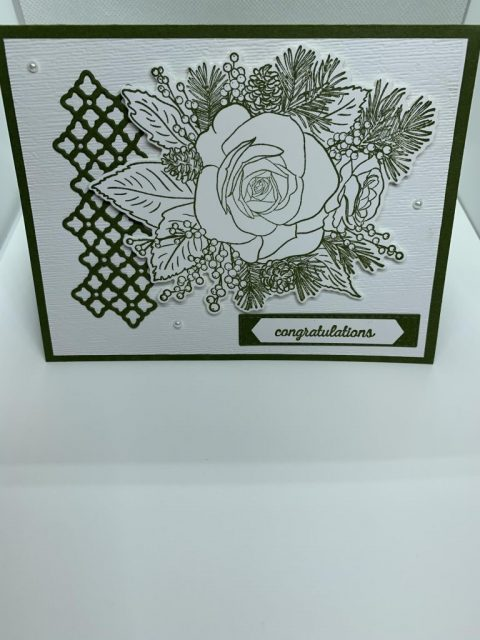 Congratulations card with a large rose and trellis using Stampin' Up products