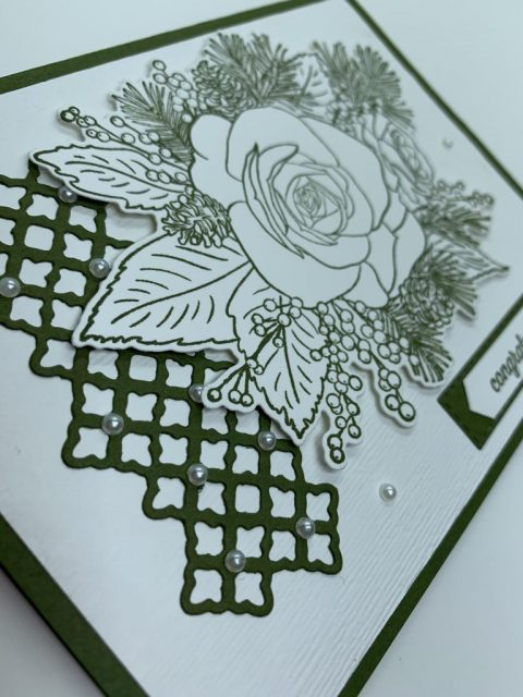 Close up view of a congratulation card using Stampin Up products