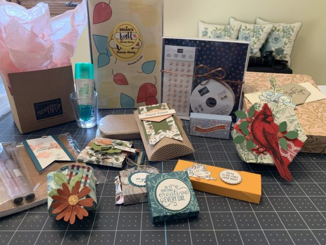 An assortment of Stampin' Up! products and hand crafted items