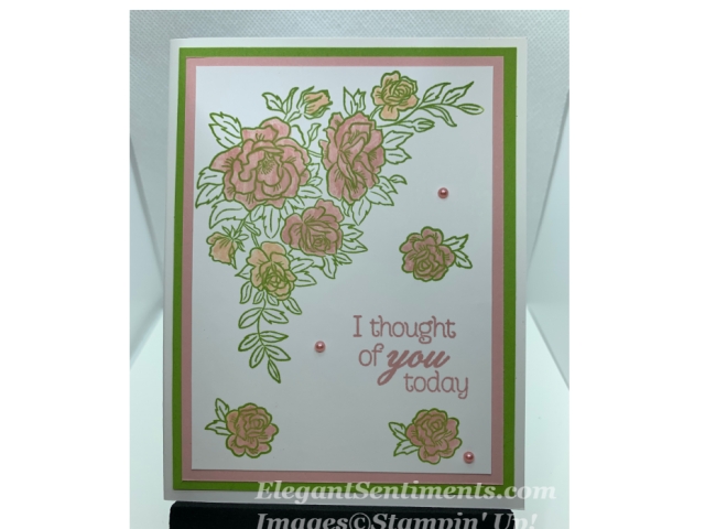 Thinking of you card with Pink Roses and green accents with Stampin' Up products