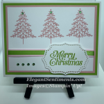 Christmas card with 3 pink tree and pink and green ribbon using Stampin