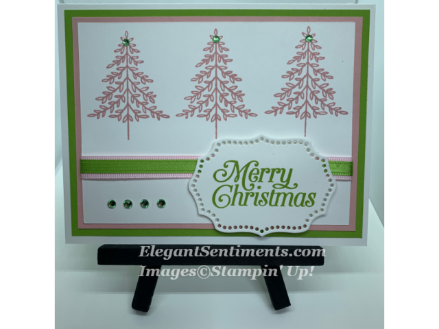 Christmas card with 3 pink tree and pink and green ribbon using Stampin' Up products