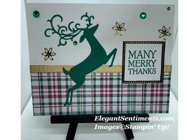 Christmas card with green deer and plaid paper from Stampin Up