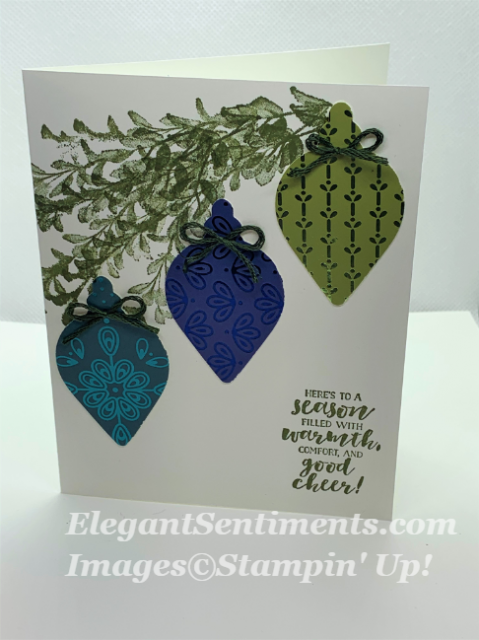 Christmas card with 3 bulbs and tree limb using Stampin Up products