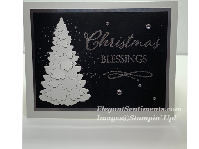 Black and White christmas card with silver embossing