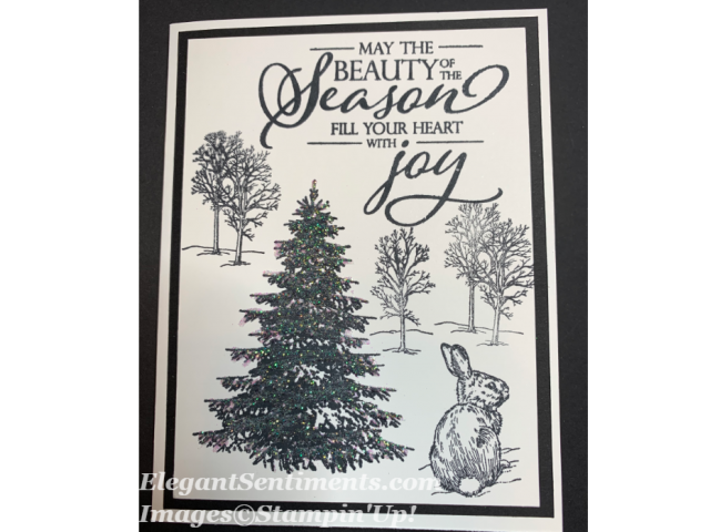 Black and White christmas card with trees evergreen and a bunny. All are Stampin Up products.