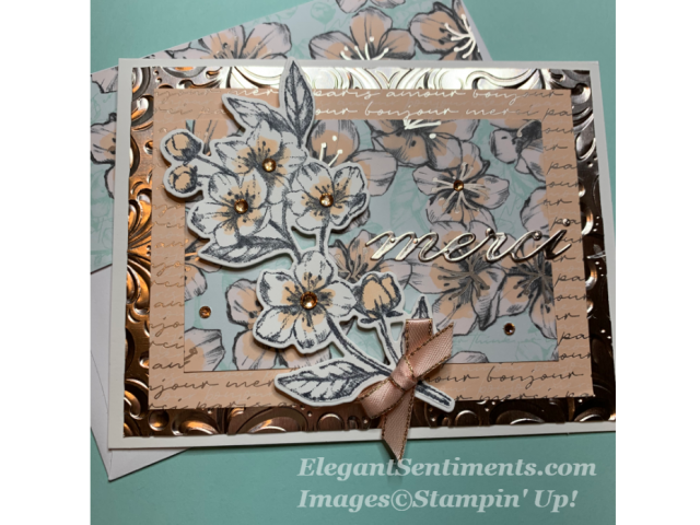Thank you card with Cherry Blossoms made with Stampin Up products