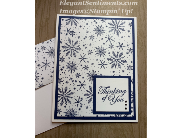 Thinking of You card with snowflake background featuring Stampin Up products