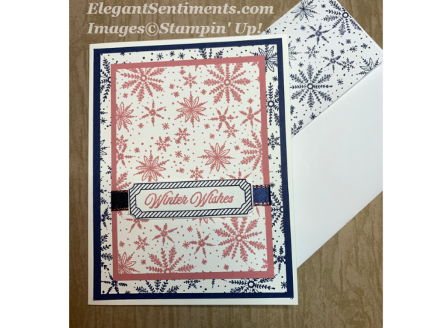 Greeting card with snowflakes in pink and navy blue Stampin Up products