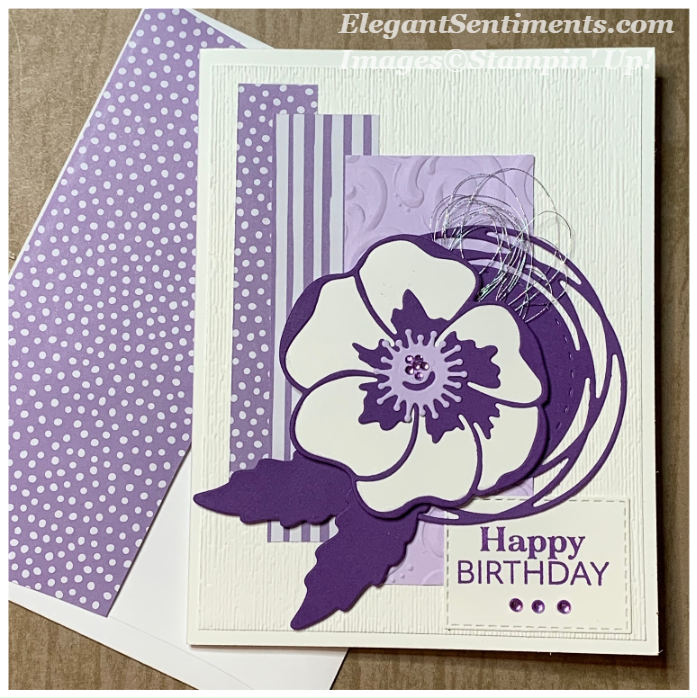 Birthday card and envelope made with Stampin Up products