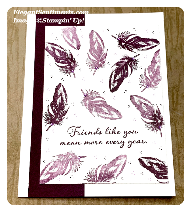 Freindship card with purple feathers using Stampin Up Cards
