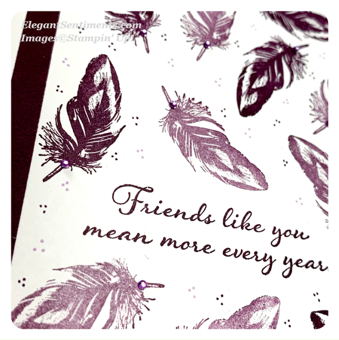 Close up of a friendship card using Stampin Up products