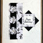 Black and White Floral birthday card featuring Stampin