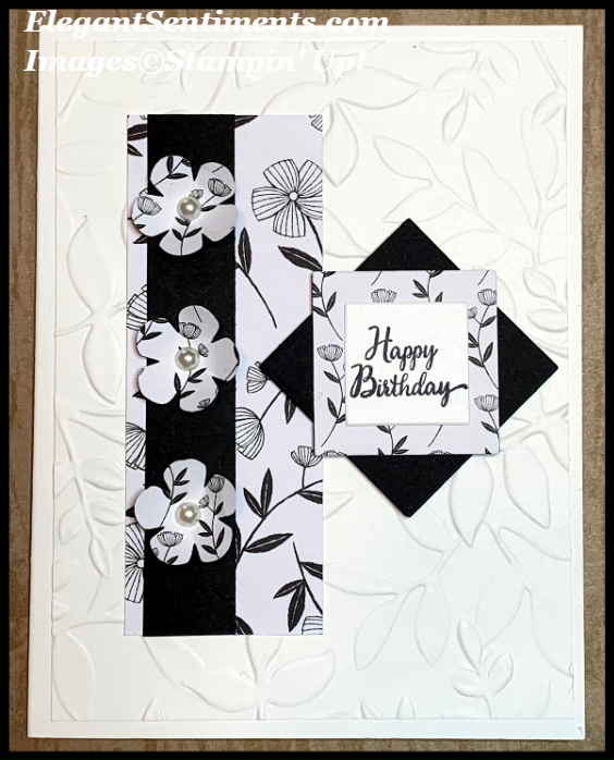 Black and White Floral birthday card featuring Stampin' Up! products