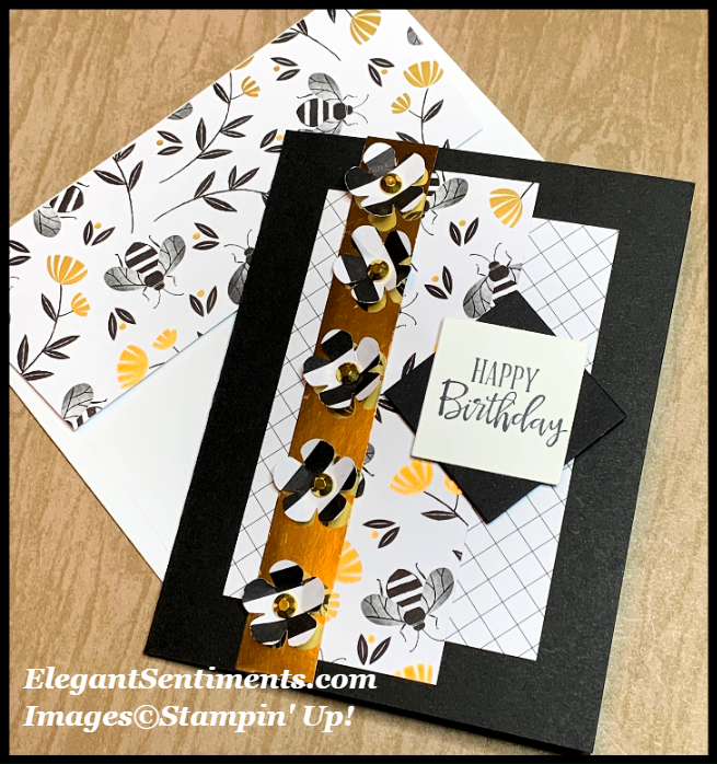 Birthday Card with flowers and gold foil featuring Stampin' Up! products