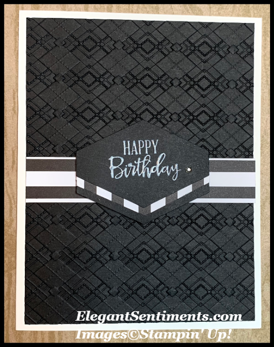 Black and White Birthday card with stripes fearing Stampin' Up! products