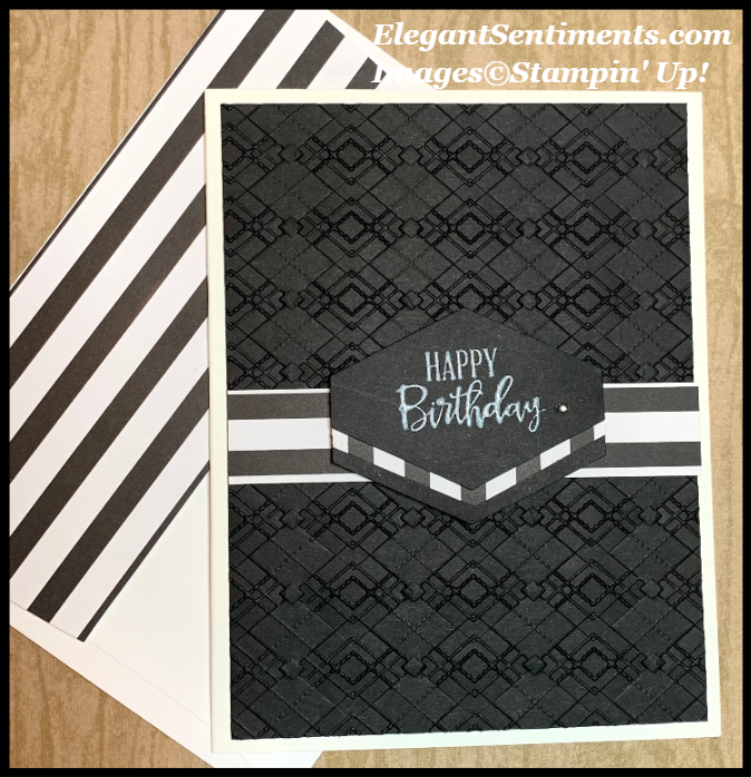 Black and White Birthday Card with stripes Featuring Stampin' Up! products