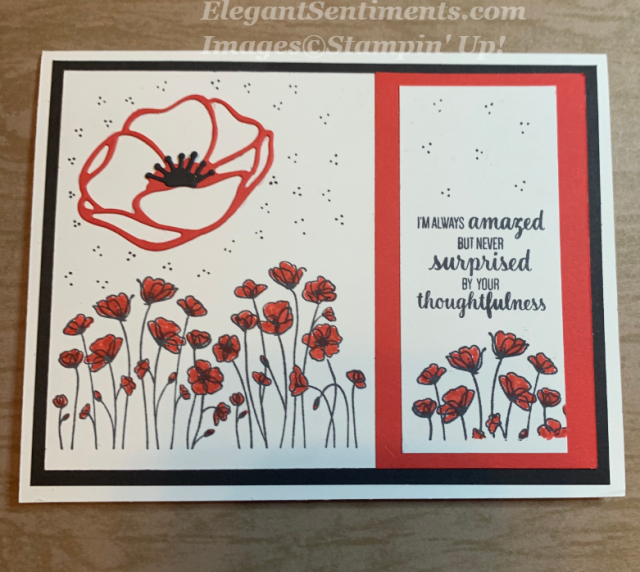 A Thank You card with poppies featuring Stampin Up products