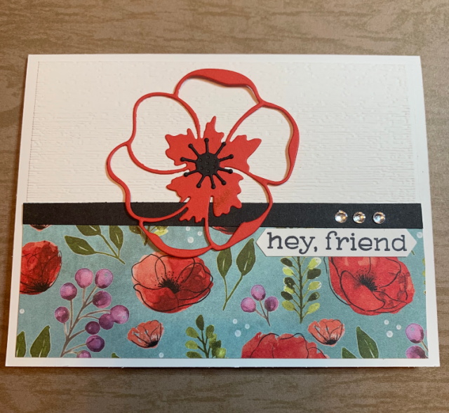 Think of you card with Poppies and foral paper from Stampin Up!