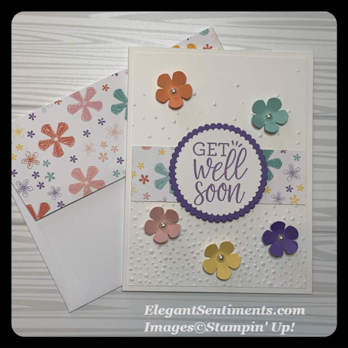 Get well card with envelope made with Stampin Up products