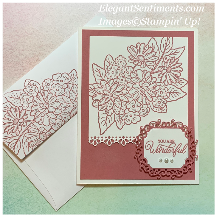 Floral greeting card and envelope made with Stampin' Up! products