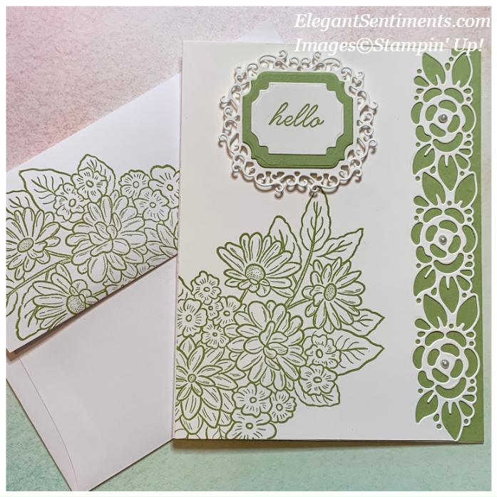 Hello greeting card and envelope made with Stampin' Up! products