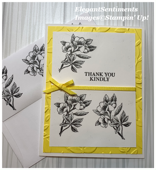 Thank You card and envelope made with Stampin Up products