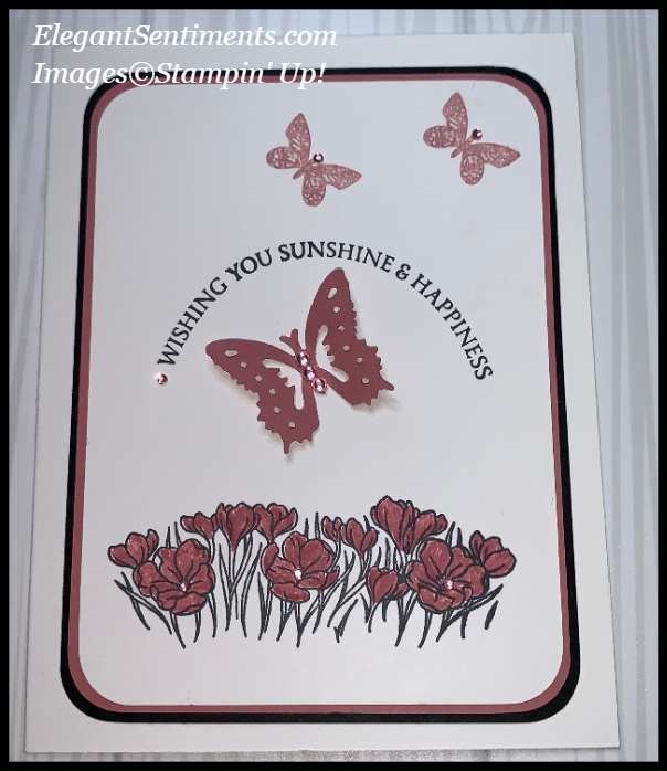 Greeting card with flowers and butterflies made with Stampin Up! products