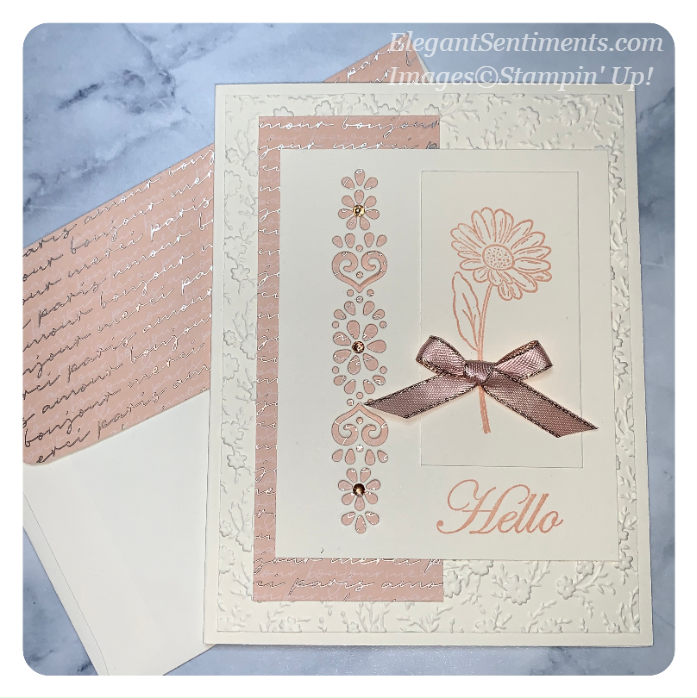A hello greeting card and envelope made with Stampin' Up! products