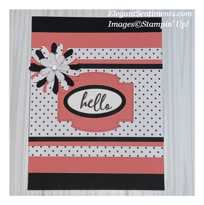 A hello greeting card with polka dots and pink, black and white card stock from Stampin' Up!