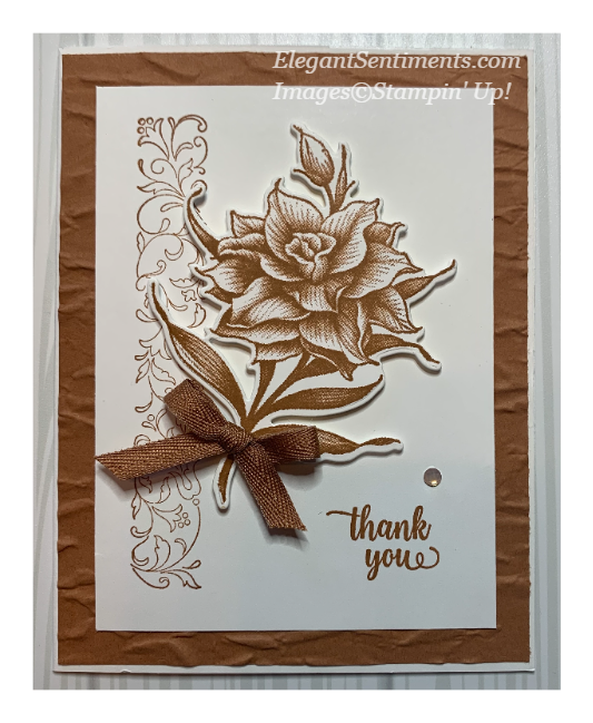 Thank you card featuring Flowering Blooms by Stampin' Up!