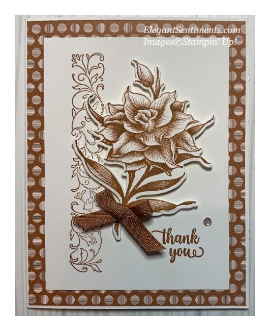 Stampin Up thank you card using Flowering Blooms stamp set