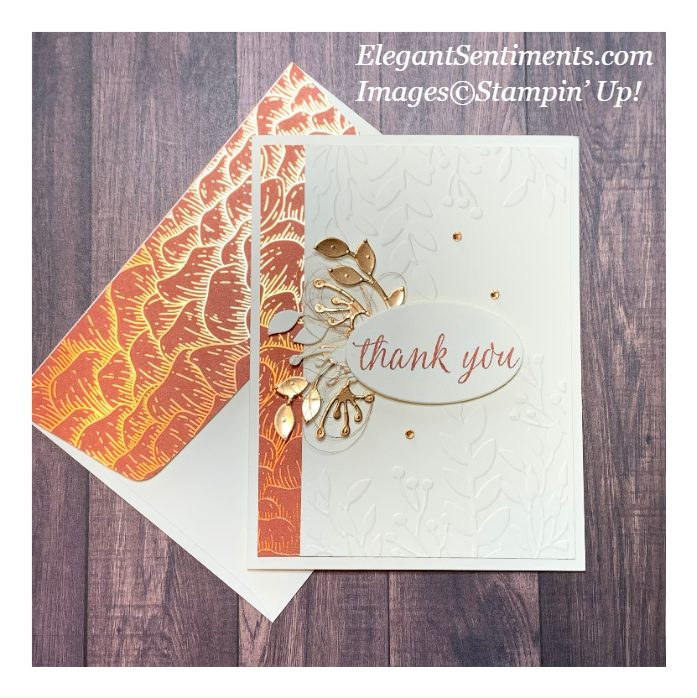 Thank you card and coordinated envelope made with Stampin' Up! products